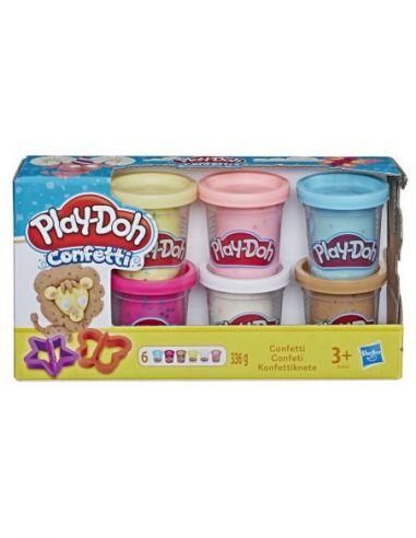 Hasbro Original - Pack de 6 botes Confetti Plastilina - Juguete creativo - Play-Doh  - 3 AÑOS+ Envío Gratis - B3423EU6